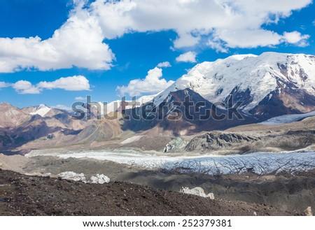 Mountain view in Pamir region, Kyrgyzstan - stock photo