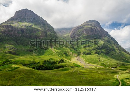 Mountain view in Scotland in the Glencoe - stock photo