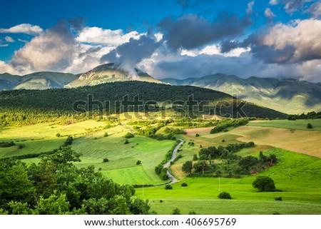 Mountain view in Umbria, Italy - stock photo