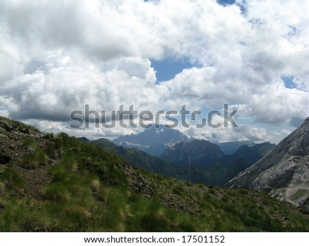 Mountain view of the dolomites during summer on a cloudy day