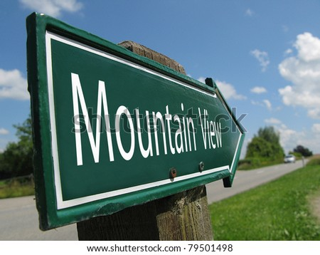 Mountain View signpost along a rural road - stock photo