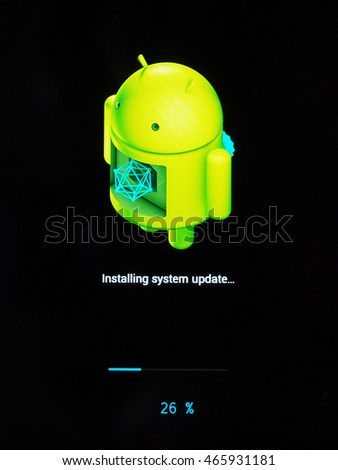 MOUNTAIN VIEW, USA - CIRCA AUGUST 2016: Android OS installing system update on a smartphone mobile device