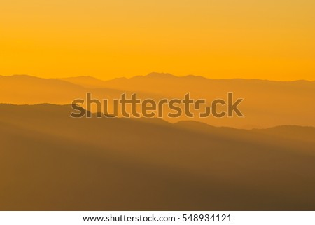 Mountain view with sunset sky