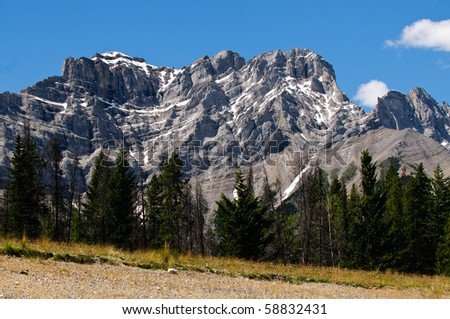Mountain views from the Lake Minnewanka Area Banff National Park Alberta Canada - stock photo