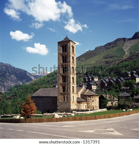 mountain village and church