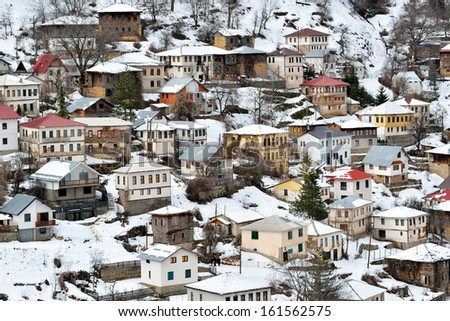Mountain village from Macedonia in winter