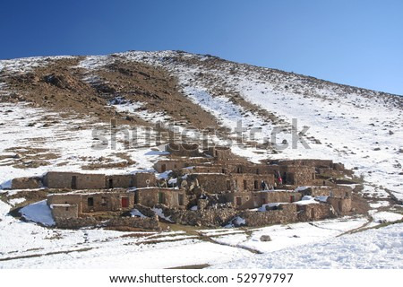 Mountain village in Morocco - stock photo