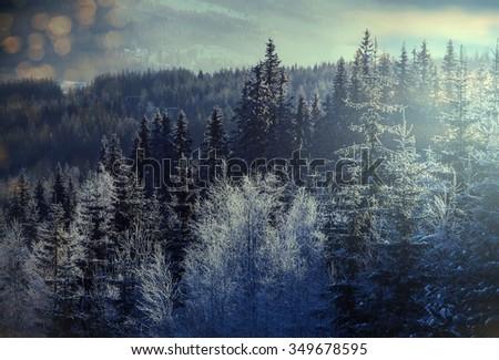 Mountain village in the Winter - stock photo