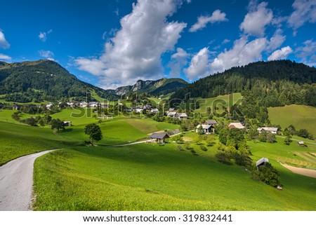 Mountain Village on a Sunny Summer day - stock photo