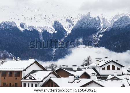 Mountain village with views of the snow-capped peaks