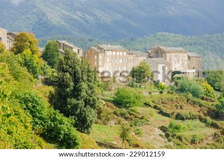 Mountain villages and landscape in Castagniccia area, near roads D71 and D506, in Haute-Corse, Corsica, France - stock photo