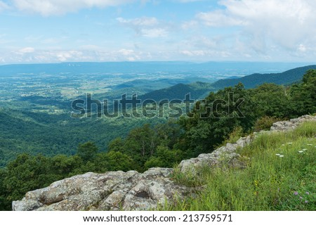 Mountain Vista from Franklin Cliffs Overlook, Skyline Drive, Shenandoah National Park, Virginia - stock photo