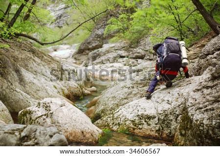 mountain walking - stock photo