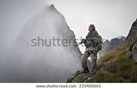 Mountain warfare - stock photo
