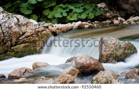 Mountain Waterfall at the Cheile Bicazului,Romania - stock photo