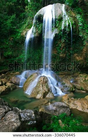 Mountain waterfall in Cuba - stock photo