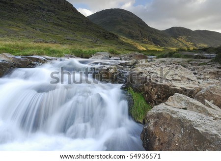 Mountain waterfall in the English Lake District - stock photo