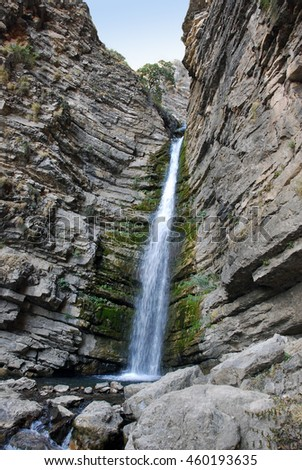 Mountain waterfall in the mountains of Tien Shan