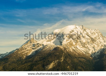 mountain Watzmann in the Alps of Bavaria, Germany