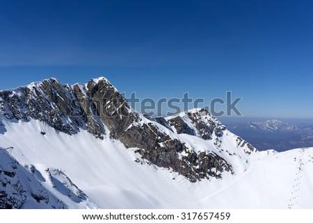 Mountain winter landscape of Krasnaya Polyana, Sochi, Russia - stock photo