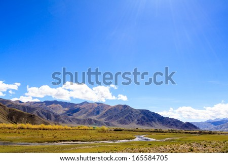 Mountain with blue sky - stock photo