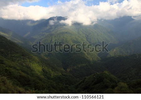 mountain with clouds, taiwan, taoyuan, - stock photo