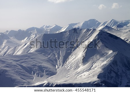 Mountain with icy slope in evening. Ski resort Gudauri. Caucasus Mountains, Georgia. - stock photo
