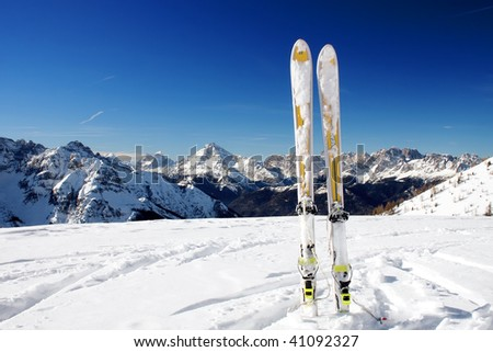 mountain with ski - stock photo
