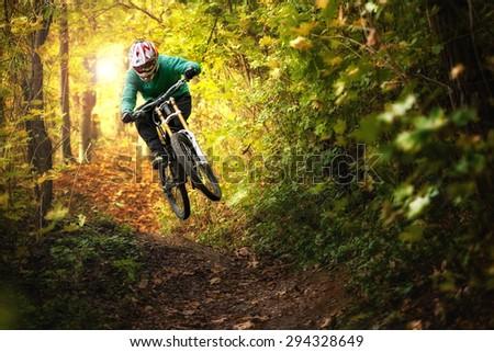 Mountainbiker rides in autumn forest - stock photo