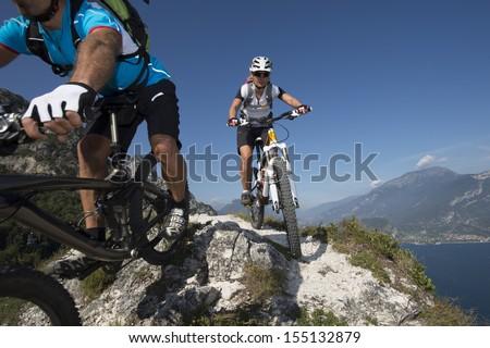 Mountainbiking - blurred Motion - stock photo