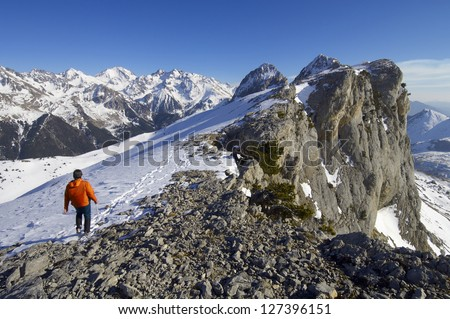 mountaineer  against Foratata peak in Tena Valley, Huesca, Pyrenees, Aragon, Spain - stock photo