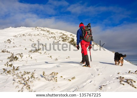 Mountaineer and his dog walking to the top of the mountain, Slovenia - stock photo
