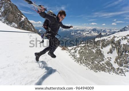mountaineer on a Italian glacier (Mont Blanc Massif, Italian Alps) - stock photo