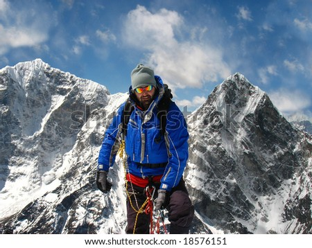Mountaineer on the top of the Himalayas