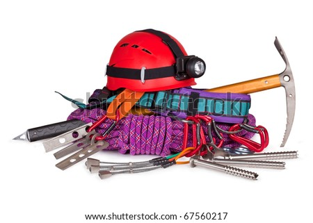 mountaineering equipment isolated on white background - stock photo