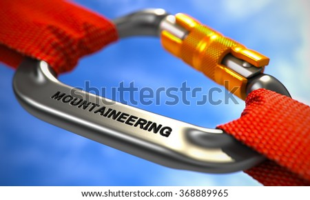 Mountaineering on Chrome Carabine with a Red Ropes. 3d. Selective Focus. - stock photo
