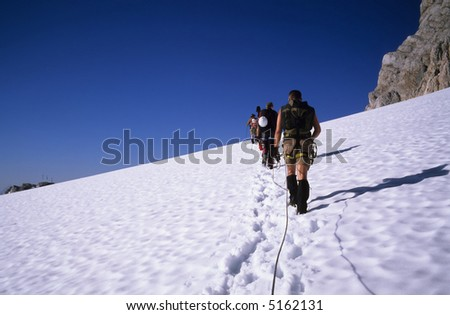 mountaineers on a glacier, Dachstein Mountains, Alps, Austria