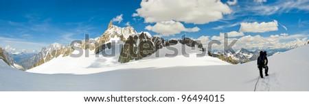 mountaineers on a Italian glacier (Mont Blanc Massif, Italian Alps) - stock photo