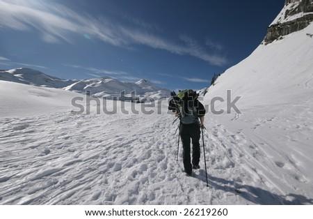 Mountainering in alps - stock photo