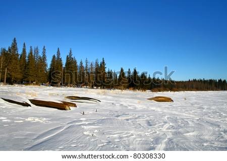 Mountainous lake - stock photo