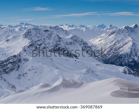 Mountains above Davos City in Switzerland visible from Weissfluhgipfel in 2844 meters. - stock photo