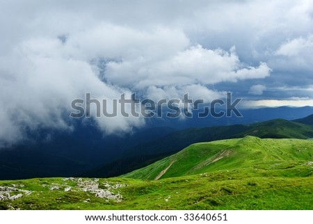 mountains after a rain - stock photo