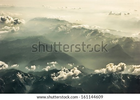 mountains Alps, from plane in France - stock photo