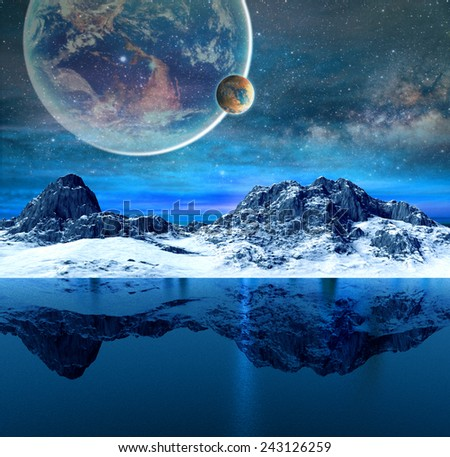Mountains and beautiful transparent sea and planets on background.Elements of this image furnished by NASA - stock photo