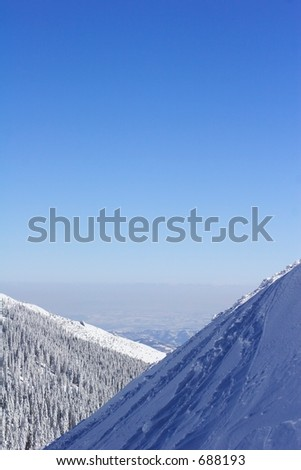 mountains and blue sky - stock photo