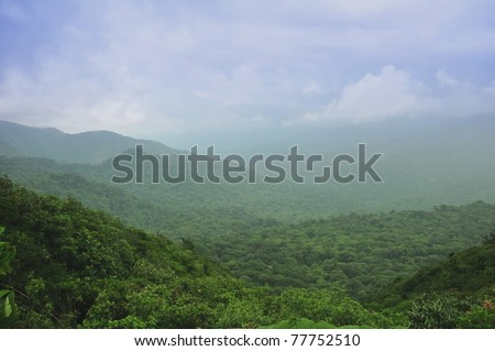 Mountains and clouds in the rainforest of Monteverde, Costa Rica - stock photo