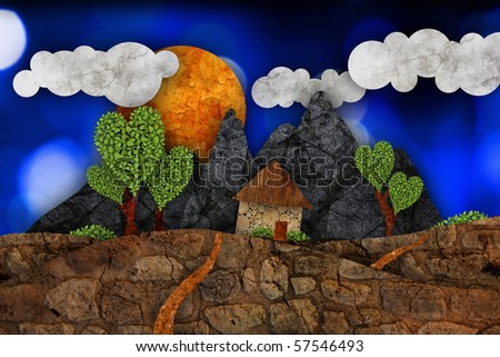 Mountains and house, illustration - stock photo
