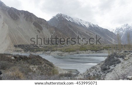 Mountains and lake in Karakoram range, Pakistan.