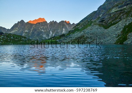Mountains and lake in sunset light
