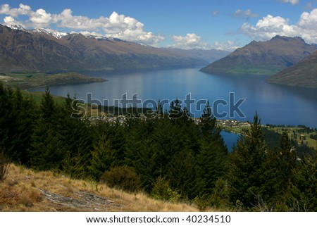 Mountains and lake of Queenstown